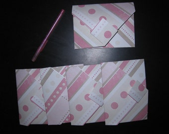 Pink Stripes & Polka Dots - 5 Decorative Folded Self-Closing Origami Paper Ephemera Envelopes, Dbl Thick Single Sided 12x12 Scrapbook Paper