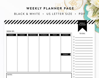 Black and White Weekly Planner Page - Printable - Letter Size - INSTANT DOWNLOAD