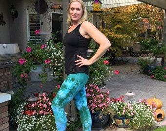 Tall Cosmic Green Tie Dye Leggings Including Extra Long and Plus Sizes by Splash Dye Activewear