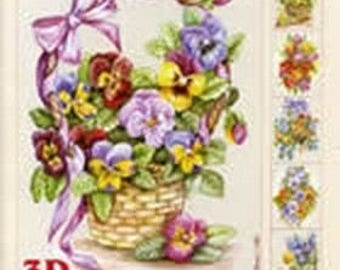 Paper sheets 12 3D card spring flowers 3
