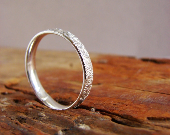 Minimal Sterling Silver Band Ring Wave Texture Ring Everyday Jewelry