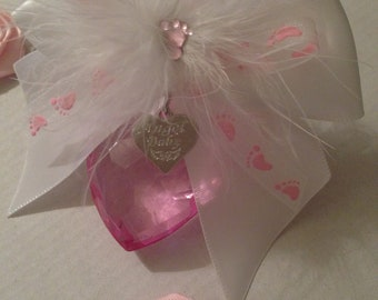 Lovely pink Angel baby 40mm hanging faceted acylic heart miscarriage, baby loss keepsake