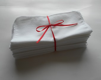 """SALE Cloth Wipes 20 Flannel 8""""x8"""" Reusable Baby Girl Boy Neutral Family Cloth Personal Napkins Tissues TP White Washcloth 1 or 2 Ply"""