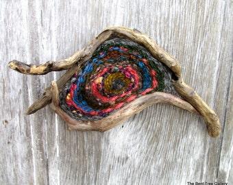 Fiber Sculpture on Driftwood OOAK