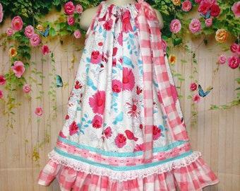 Girls Dress 5/6 Aqua, Pink Floral Design  Birds Pillowcase Dress, Pillow Case Dress, Sundress, Boutique Dress