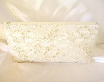 Ivory Satin Clutch - Ivory Lace Clutch - Gold Clutch - Wedding Clutch - Special Occasion - Bridesmaid Clutch - Bridal Clutch - Brides Purse