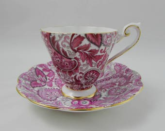 Vintage Pink Paisley Tea Cup and Saucer by Royal Standard, English Bone China