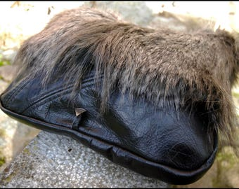 Faux/Fake fur & recycled real leather handbag | one of a kind
