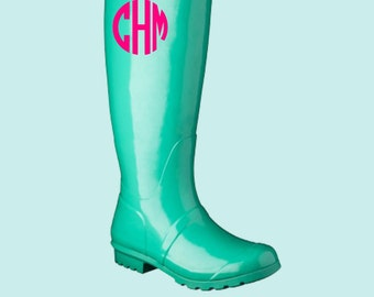 Rainboot Monogram Decal, Rain Boot Decal, Rain Boot Monogram