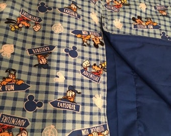 Mickey Mouse Blue Cotton Baby Blanket