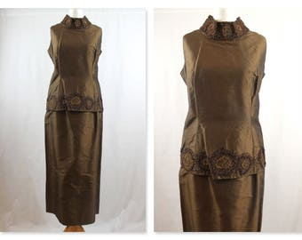 1960's Classic raw silk two piece tunic top and skirt suit