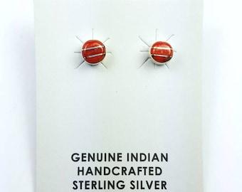 Native American Navajo handmade Sterling Silver inlay Coral stone stud earrings