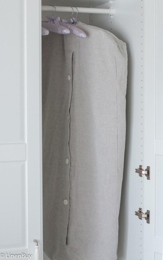 LINEN GARMENT BAG Organic Garment bag with wooden buttons