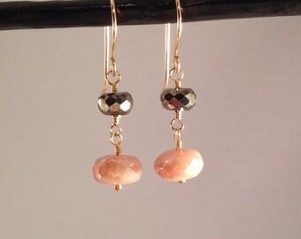 Pink Earrings, pink drop earrings, blush pink, light pink, pyrite earrings, silverite, gold, rose gold, silver, dainty, small, pink gemstone