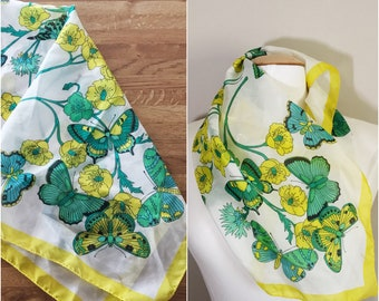 Beautiful Bright Butterfly Print Scarf // Yellow, Green, and Blue Scarf // Butterflies, 1970s