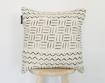 African white Mudcloth Pillow Cover,  boho, handwoven, mud cloth, vintage, ethnic, 18 x 18