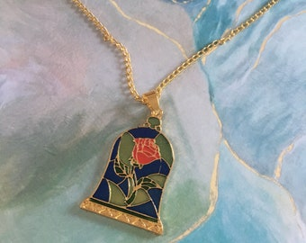 Rose Necklace - Beauty and The Beast - Cursed - Tale As Old As Time - Dapper Days