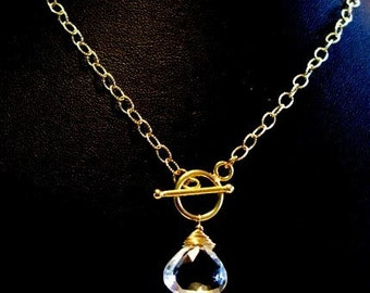 Raindrop grade A white topaz chubby heart faceted briolette 24K Gold vermeil toggle on 14K Gold fill chain