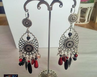 Red Black Silver earrings