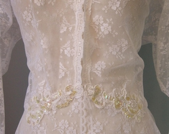 Sequins and Lace Robe / Vtg 70s / Val Mode White Lace Sequined Robe / Bridal Lingerie Trousseau