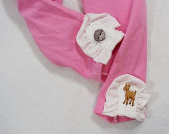Betsy Leggings - Pink with Woodland Animal Buttons - Size 2T