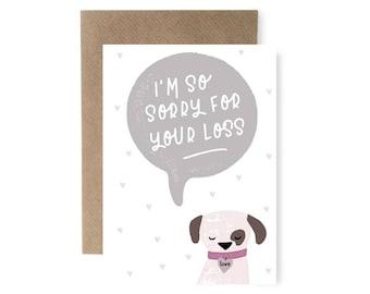 Sorry Dog Cute Sympathy Card, Pet Loss Card, Thinking of you Card, Personalised Sympathy Card, Dog Greeting Card,