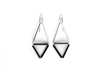 Silver black triangle earrings- Geometric earrings- Minimalist jewelry