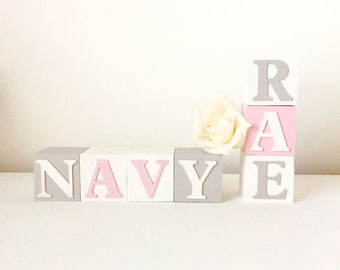 Pink White And Grey Nursery Decor, Custom Baby Name Baby Blocks, Girls Nursery Baby Blocks, Gift To Newborn, Goddaughter Christening Gift
