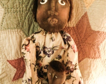 Primitive Handmade Black Doll - My Best Friend