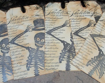 Gift Tags-Vintage Style Skeleton Gift Tag-Halloween Gift Tags-Custom Ink Distressed by Hand-5 Large Tags