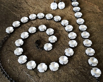 MATTE LUMINESCENT Swarovski crystal 12mm jewelry set -  necklace, bracelet, earrings - crystal rivolis in white matte