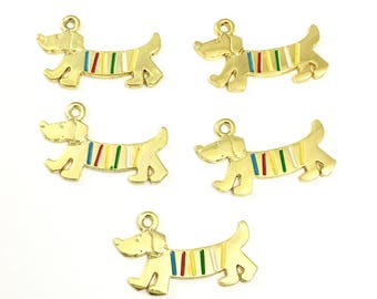 5 dachshund dog charms gold tone.28mm # CH 258