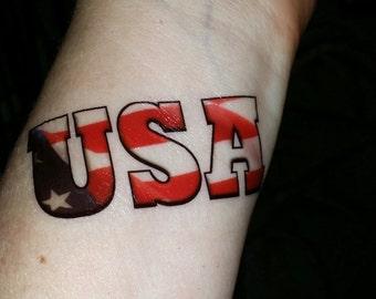 Patriotic tattoo flag tattoo USA tattoo Holiday tattoo temporary tattoo fake tattoo