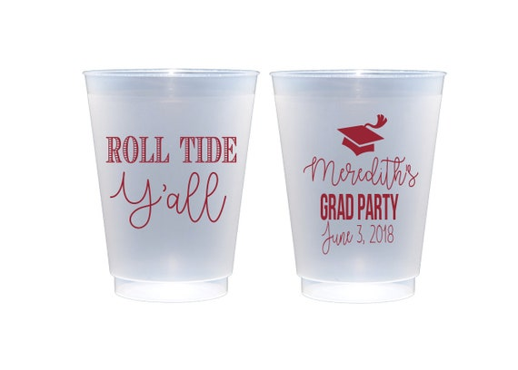 Roll tide cups, Alabama cups, University of Alabama graduation cups, Personalized graduation cups, personalized shatterproof cups, frosted