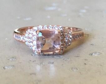 Deco Morganite Engagement Ring- Pink Gemstone Anniversary Ring- Vintage Morganite Ring- Victorian Promise Ring- Alternative Pink Ring