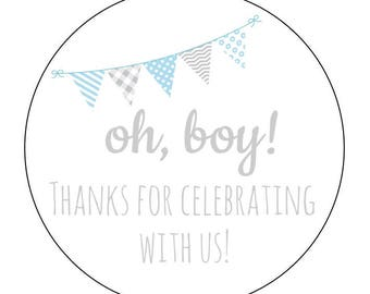 12 Oh Boy Labels, Instant Download, Envelope Seals, Baby Shower, Thanks for Coming, DIY Tags, Printable Shower Labels, It's a Boy, Baby