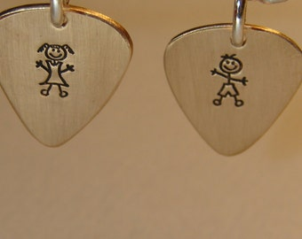 Dainty 14 K gold charms with boy and girl