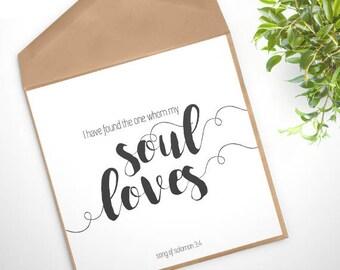 GC-102 PRINTABLE Greeting Card - digital file DOWNLOAD - love, scripture, bible verse, romantic, Christian, wedding, engagement, anniversary