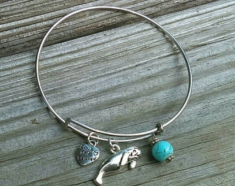 Manatee charm bracelet, manatee bangle, manatee gift, beach charm bracelet, nautical charm bracelet, love, be loved