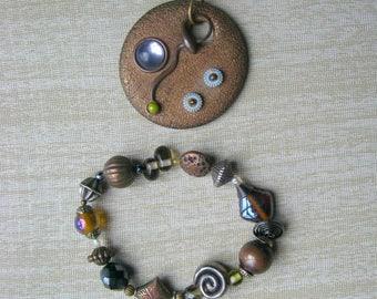 Treska Pendant and Bracelet in Earth Tones, Designer Jewelry, Brown Silver Tone Copper Unique Jewelry