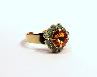 Tangerine & Caribbean Opal Ring Sparkling Bright Orange Solitaire Swarovski Studded Rhinestone Crown Tropical Punch Cocktail Gold Chrysolite