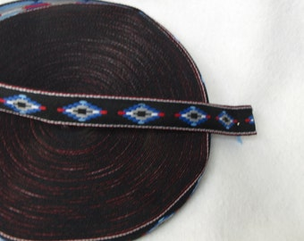 "AM001 - Aprox 3/4"" w x 25+Y long - Blue Aztec Design Ribbon"