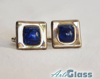 Cufflinks handmade bubble painted blue decorated with platinum, square