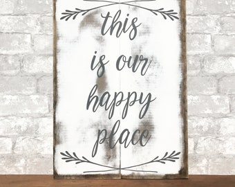 This is our happy place | rustic wood sign | wood slat sign | pallet style | distressed home decor | 14.5x20""