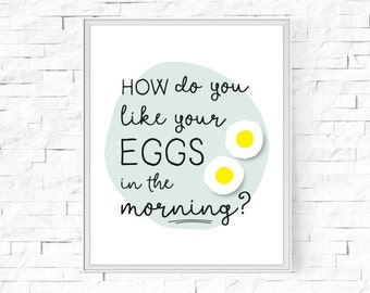 "Printable How Do You Like Your Eggs In The Morning? Print - Instant Download - Kitchen Print - Printable Wall Art - 8""x10"" and A4."