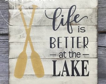 Rustic pallet inspired lake sign // slat lake sign // life is better at the lake