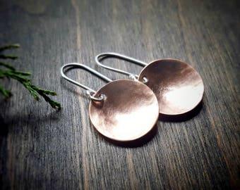 Hammered Copper Earring, Shiny Copper Disc Earrings, Elegant Earring, Mixed Metal Jewelry, Sterling Silver, Copper Jewelry, Circle Earrings