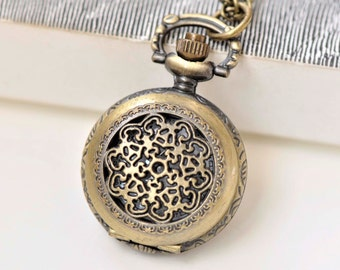 1 PC Antique Bronze Small Size Filigree Pocket Watch Pendant 27mm A3791