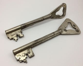 Lot of 2 Vintage Large Skeleton Silver Tone Keys Door Steampunk Poland