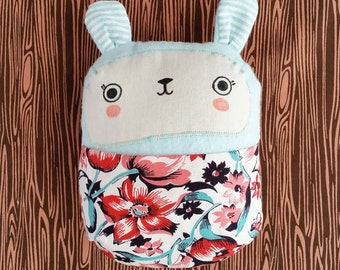 Stuffed bunny soft baby toy with bold floral front pouch. Handmade.